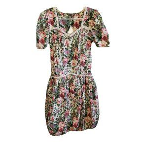 Vintage 80s Floral Dress Open Back Puff Sleeves